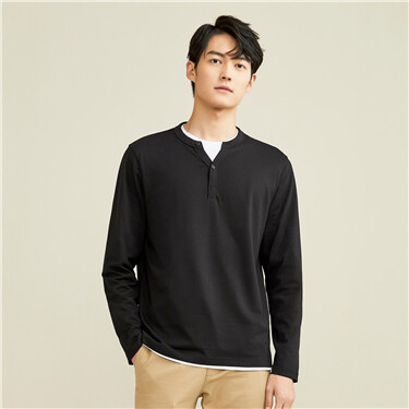 纯棉纯色亨利领长袖T恤
