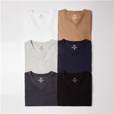 Solid color v-neck long-sleeve tee