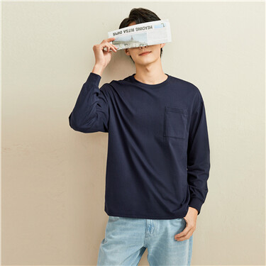 Patch pocket dropped-shoulder long-sleeve tee