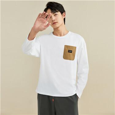 【網上獨家】男裝純棉撞色口袋圓領長袖T恤