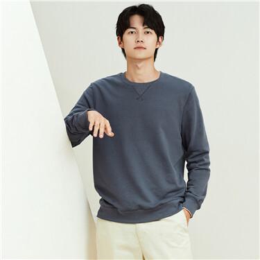 Flat lock crewneck solid color sweatshirt