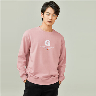 Embroidery loose crewneck sweatshirt