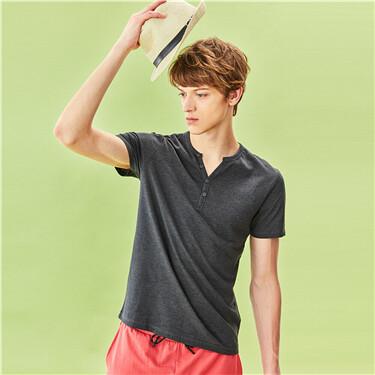 Short sleeves henley tee