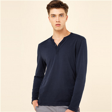Solid henley long-sleeve tee