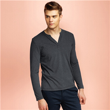 Plain Henley Neck Long-sleeve Tee