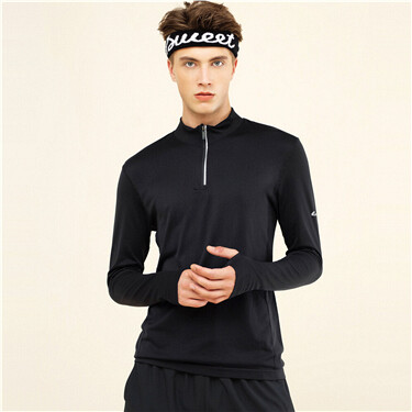 Mens G-MOTION Half-Zip Hole Long-Sleeves Tee