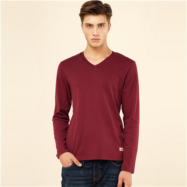 Thick solid V-neck tee