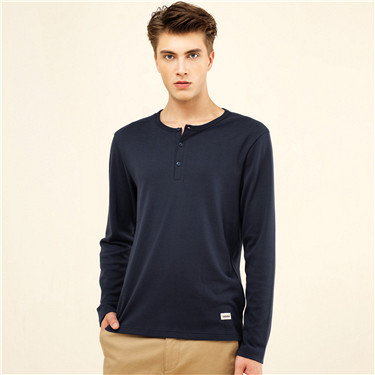 Solid Henley neck cotton tee