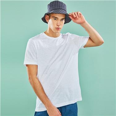 竹节纱圆领短袖T恤