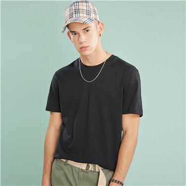 男裝基本款素色圓領T恤