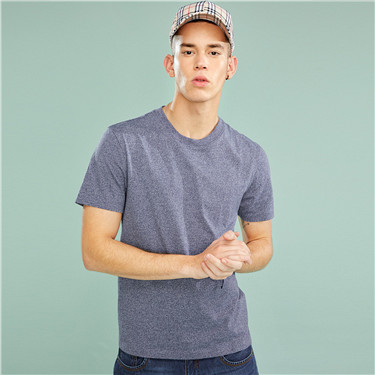 纯棉纯色修身圆领短袖T恤