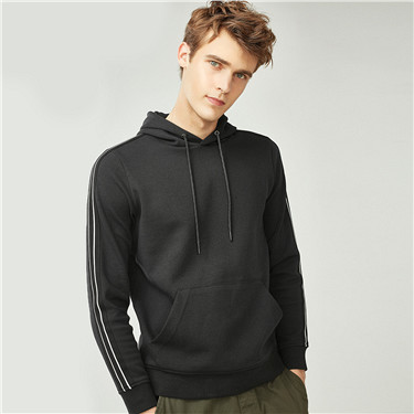Interlock contrast color kanga pocket hoodie