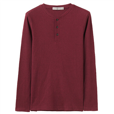 Thick henley neck long-sleeve tee