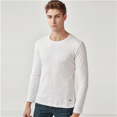 Solid cotton crewneck long-sleeve tee