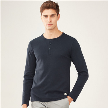 Henley neck long-sleeve Tee