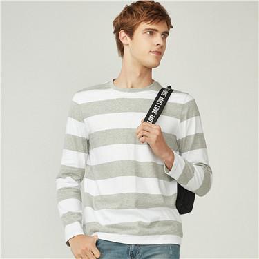 Cotton contrast stripe crewneck tee