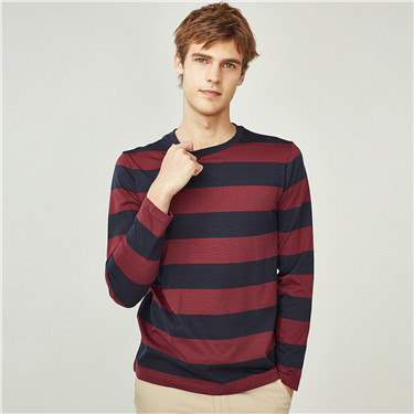 Cotton contrast stripe crewneck tee