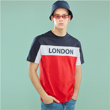 Contrast-color printed crewneck tee