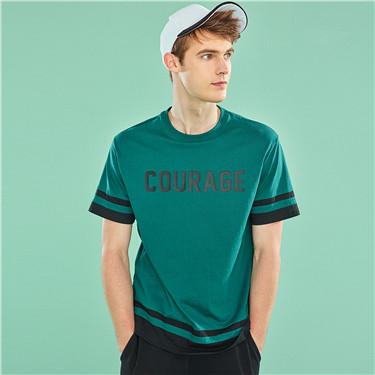 字母印花撞色純棉圓領短袖T恤