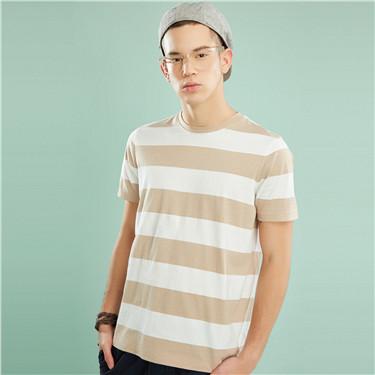 條紋修身圓領短袖T恤