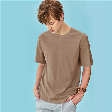 Simple Plain Cotton Round Neck Short Sleeve T-Shirt