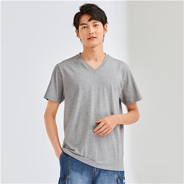 Solid V-neck slim tee