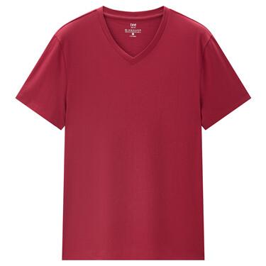 純色V領修身短袖T恤