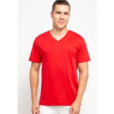男裝淨色修身V領短袖T恤