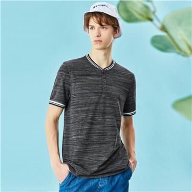 Henley collar short sleeves tee