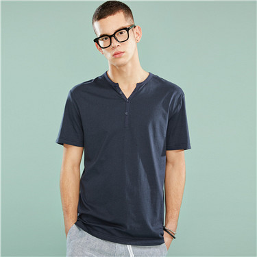 Henley neck solid slim tee