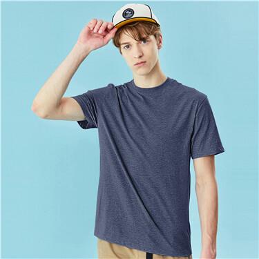 贴领纯棉纯色修身短袖T恤