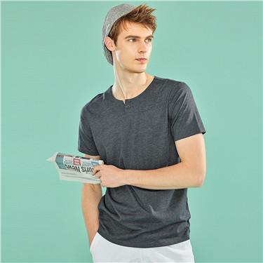 Henley neck short-sleeve slim tee