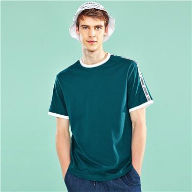 字母織帶純棉圓領短袖T恤