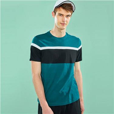 撞色纯棉圆领短袖T恤
