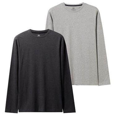 2件装纯棉修身圆领长袖T恤