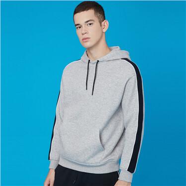 Contrast ribbon fleece hoodie