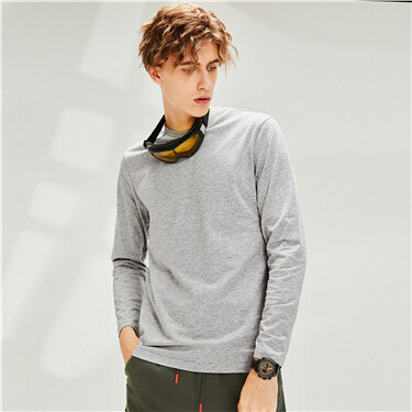 Long-sleeve crewneck cotton tee