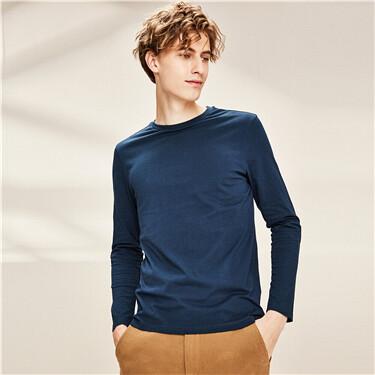 纯棉纯色圆领长袖T恤