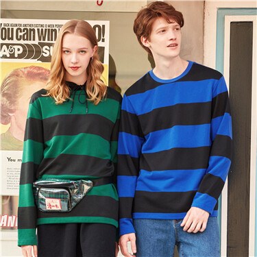 Striped crewneck long-sleeve sweatshirt