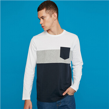 Contrast pocket long-sleeve cotton tee