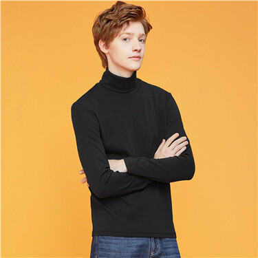Stretchy turtleneck thick long-sleeve tee