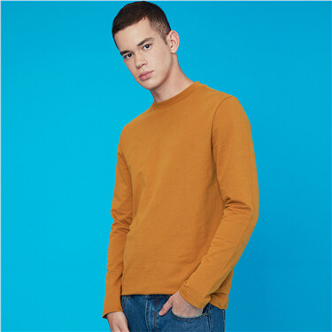 Thick mockneck slim long-sleeve tee