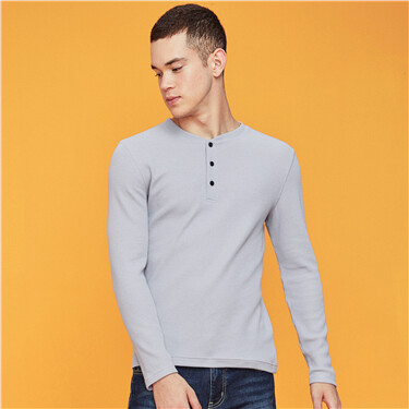Henry Neck Slim Fit Waffle Tee