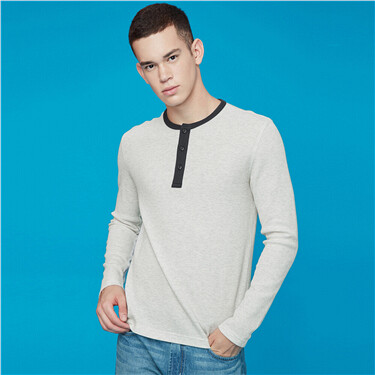 Contrast henry neck slim waffle tee