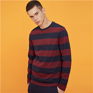 Stripe crewneck long sleeves tee