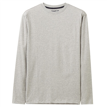 Cotton Solid  Crewneck Long-Sleeves Tee