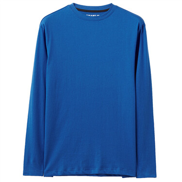 Cotton Solid  Crewneck Long-Sl