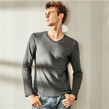 Thick V-neck long-sleeve tee