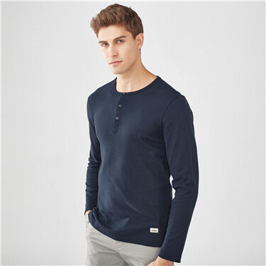 Thick henry collar long-sleeve tee