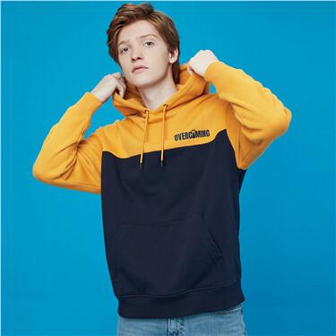 Thick printed contrast long-sleeve hoodie